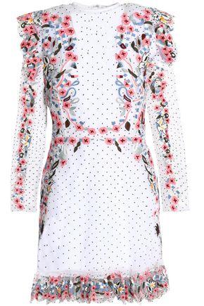 RACHEL GILBERT Alvida ruffled embroidered organza mini dress