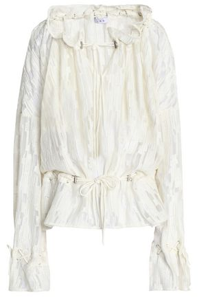 IRO Gathered embroidered georgette blouse