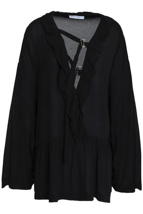IRO Ruffle-trimmed buckled crepe blouse