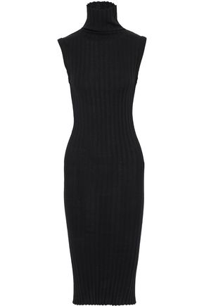 ENZA COSTA Ribbed cashmere and cotton-blend turtleneck midi dress