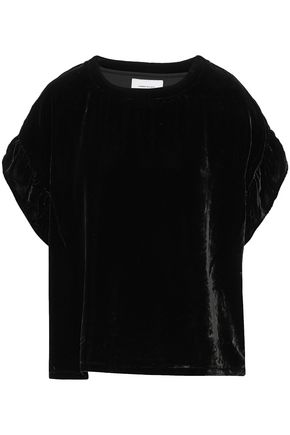 CURRENT/ELLIOTT The Janie ruffle-trimmed velvet top