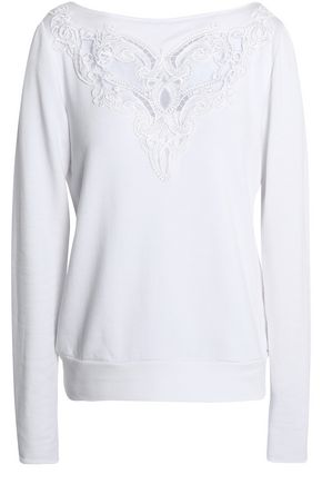 BAILEY 44 Seance guipure lace-paneled jersey sweatshirt