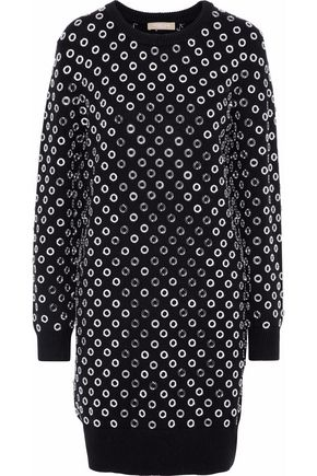 MICHAEL KORS COLLECTION Eyelet-embellished cashmere dress
