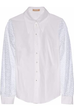 MICHAEL KORS COLLECTION Broderie anglaise-paneled cotton-blend poplin shirt