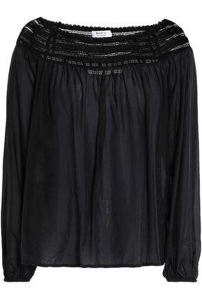 BAILEY 44 Open knit-trimmed silk blouse