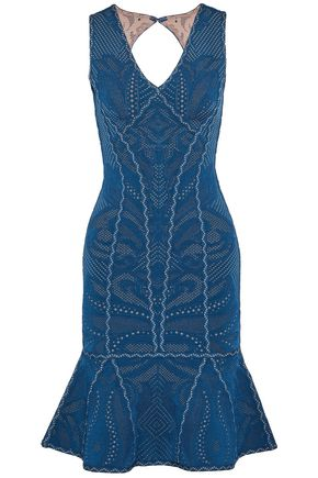 HERVÉ LÉGER Fluted cutout pointelle-knit dress