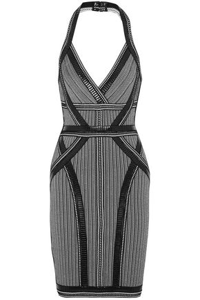 HERVÉ LÉGER Lavinia faux leather-trimmed bandage halterneck dress