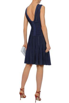 HERVÉ LÉGER Magdalene mesh-trimmed pleated bandage dress