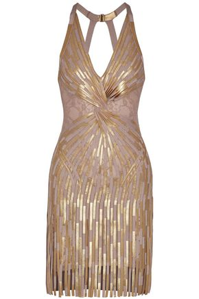 HERVÉ LÉGER Fringed metallic bandage and lace mini dress