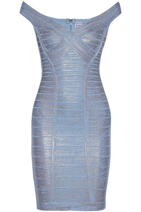 HERVÉ LÉGER Off-the-shoulder metallic  coated bandage mini dress