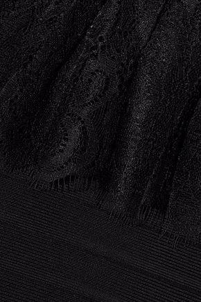 HERVÉ LÉGER Off-the-shoulder ruffled lace-trimmed bandage top
