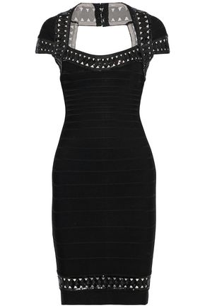 HERVÉ LÉGER Danica cutout sequin-embellished bandage dress