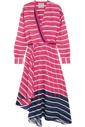 PREEN by THORNTON BREGAZZI Flintoff wrap-effect striped two-tone silk-chiffon dress