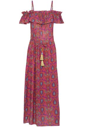 FIGUE Cold-shoulder printed cotton-blend maxi dress