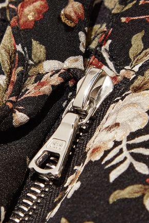 ADAM LIPPES Metallic floral-print silk-twill jumpsuit