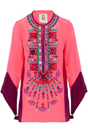 FIGUE Color-block embellished silk tunic