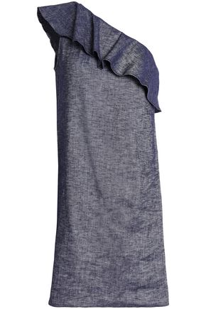 THEORY One-shoulder ruffled linen-blend chambray mini dress