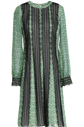 MIKAEL AGHAL Lace-trimmed printed chiffon dress