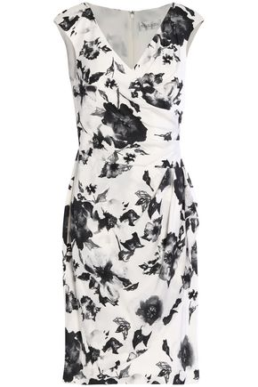 MIKAEL AGHAL Wrap-effect floral-print silk dress