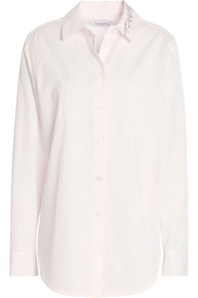 EQUIPMENT Embroidered cotton-poplin shirt