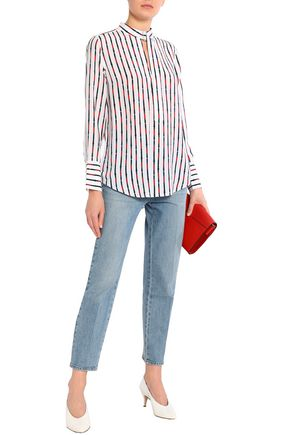 EQUIPMENT Janelle striped washed-silk blouse