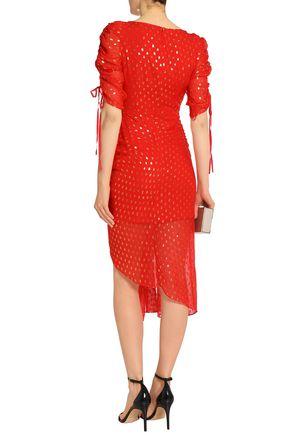 ALICE McCALL I Feel It Coming asymmetric fil coupé silk-blend chiffon dress