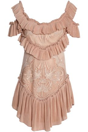 ALICE McCALL Lovebirds cold-shoulder plissé-paneled crocheted mini dress