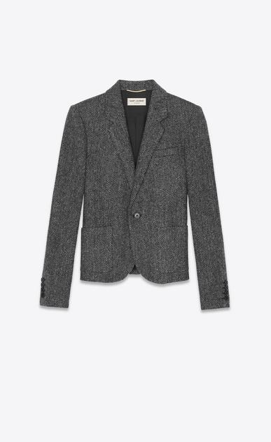 SAINT LAURENT ブレザー レディース グレーのシェヴロンウール製ショートジャケット a_V4