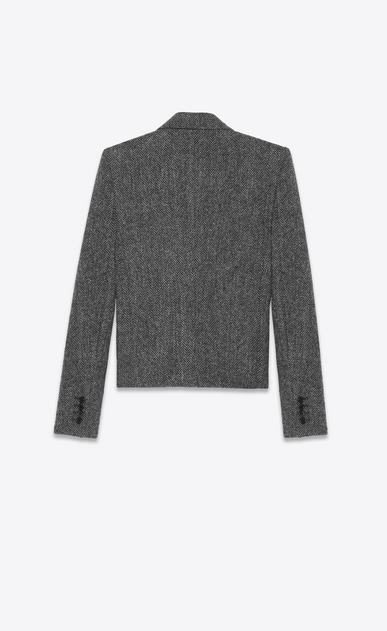SAINT LAURENT Blazer Jacket Woman Jacket in gray chevron wool b_V4