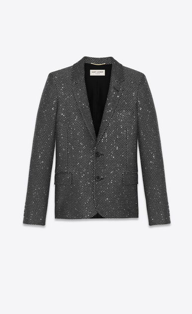 SAINT LAURENT Blazer Jacket Woman Jacket in silver- and gold-spangled black tweed a_V4