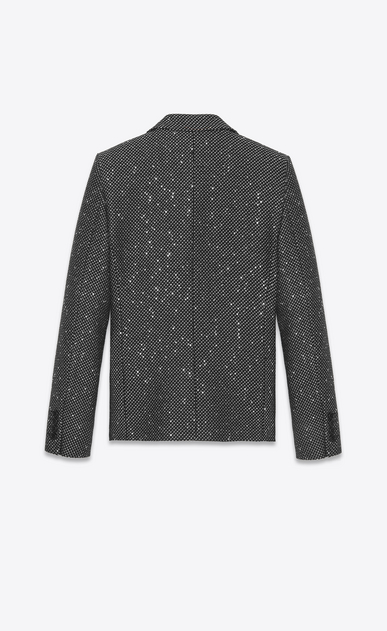 SAINT LAURENT Blazer Jacket Woman Jacket in silver- and gold-spangled black tweed b_V4
