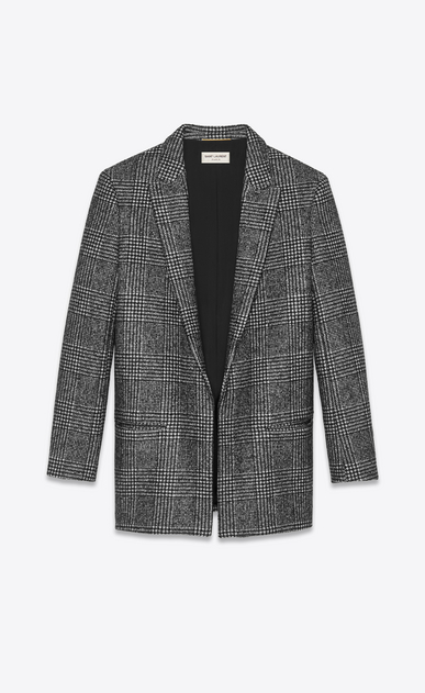 SAINT LAURENT Blazer Jacket Woman Jacket with glen plaid print in black and white. a_V4