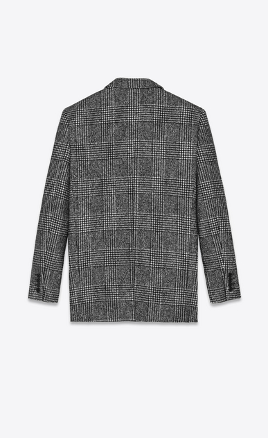 SAINT LAURENT Blazer Jacket Woman Jacket with glen plaid print in black and white. b_V4