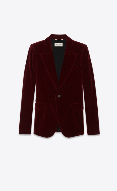 SAINT LAURENT Blazer Jacket Woman Jacket in burgundy velvet a_V4