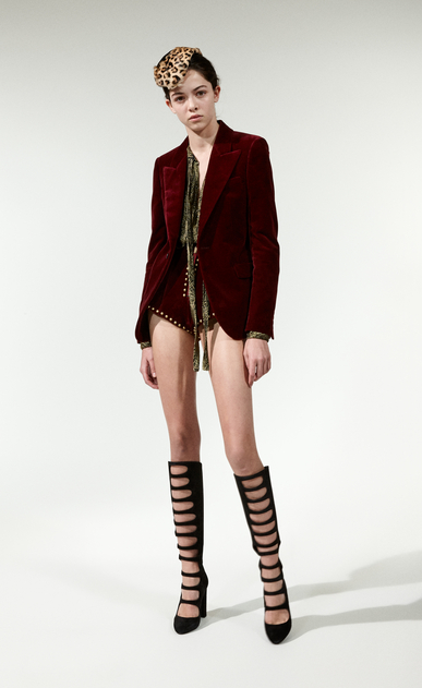 SAINT LAURENT Blazer Jacket Woman Jacket in burgundy velvet x_V4