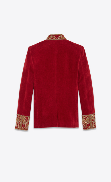 SAINT LAURENT Blazer Jacket Woman Embroidered officer jacket in antique red velvet b_V4