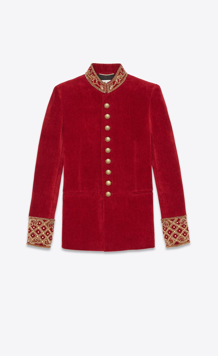 Veste officier à broderies en velours vieilli rouge