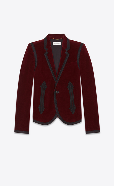 SAINT LAURENT Blazer Jacket Woman Embroidered jacket in burgundy velvet a_V4