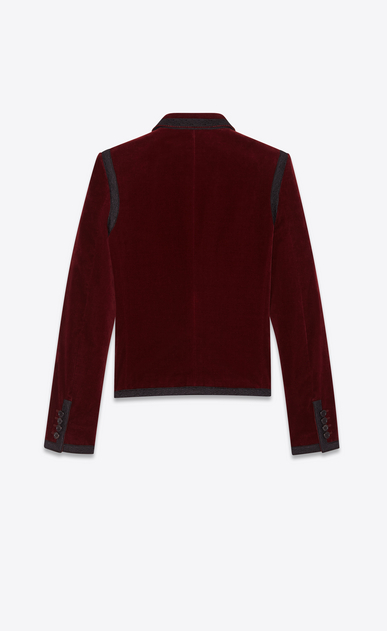 SAINT LAURENT Blazer Jacket Woman Embroidered jacket in burgundy velvet b_V4