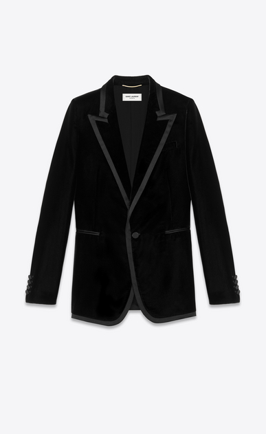 SAINT LAURENT Tuxedo Jacket Woman Tuxedo jacket in black velvet a_V4