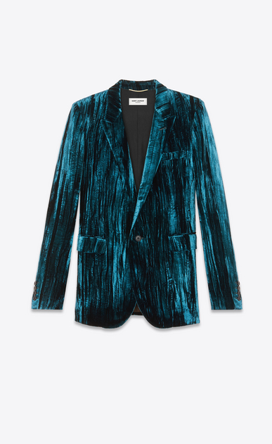 SAINT LAURENT Blazer Jacket Woman Jacket in crinkled blue velvet a_V4