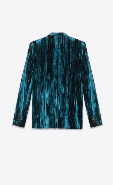SAINT LAURENT Blazer Jacket Woman Jacket in crinkled blue velvet b_V4