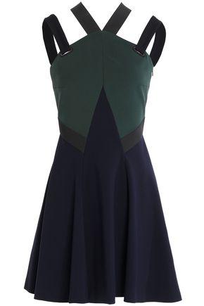 VERSACE Open-back flared color-block ponte mini dress