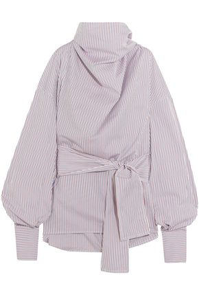 WANDA NYLON Striped cotton-poplin funnelneck top