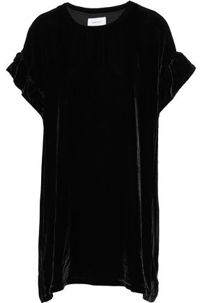 CURRENT/ELLIOTT The Janie ruffle-trimmed velvet mini dress