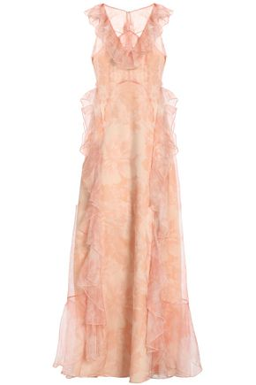 ALICE McCALL Ruffled floral-print silk-organza gown