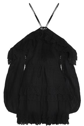 ALICE McCALL Cold-shoulder ruffled broderie anglaise cotton mini dress