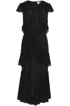 ALICE McCALL Sweet Emotion tiered pliss�-paneled crocheted dress