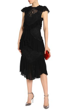 Sweet Emotion Tiered Plissé Paneled Crocheted Dress by Alice Mc Call