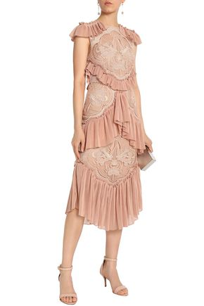 ALICE McCALL Sweet Emotion tiered plissé-paneled crocheted dress